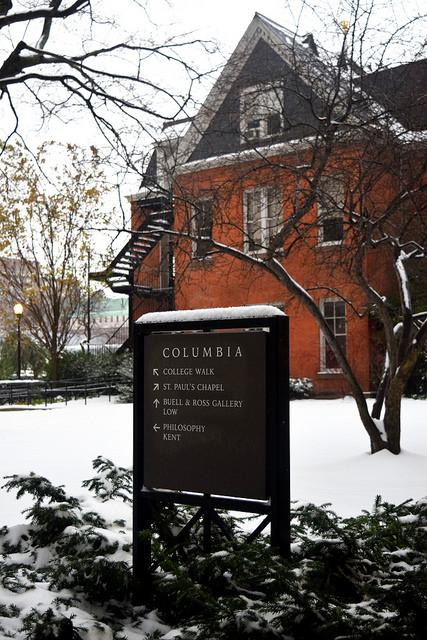 Maison francaise in the winter with snow